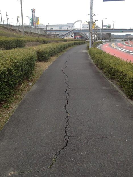 桃花台センター交差点付近の歩道にできた亀裂