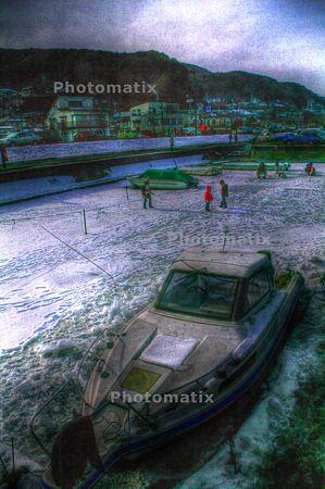 結氷の諏訪湖HDR
