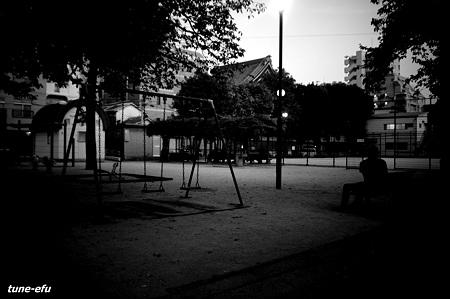 公園に夕暮