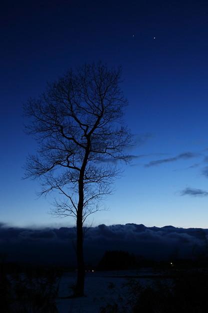 金星と木星のある夕景