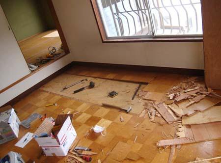 2階床下 防音 補強1