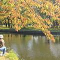 合浦公園・釣り人と紅葉01-11.10.19