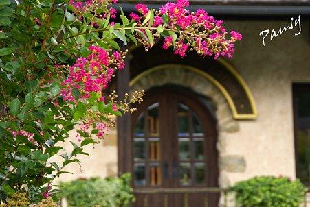 百日紅が彩るドア・・箱根ガラスの森・・9