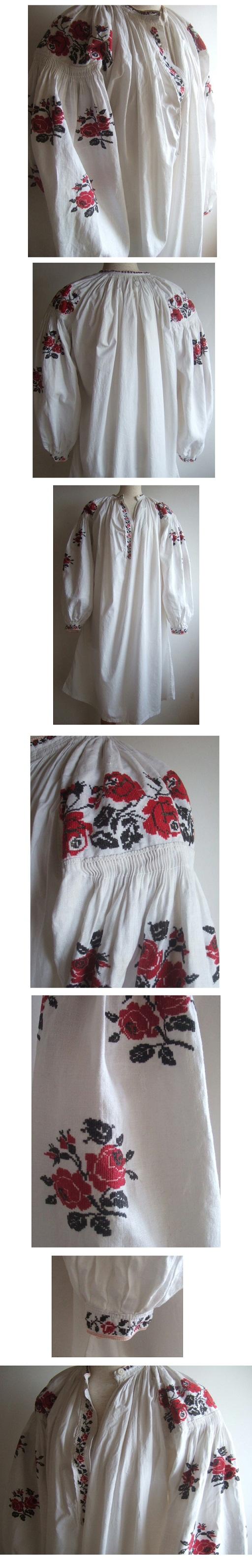 薔薇刺繍ウクライナリネンワンピース