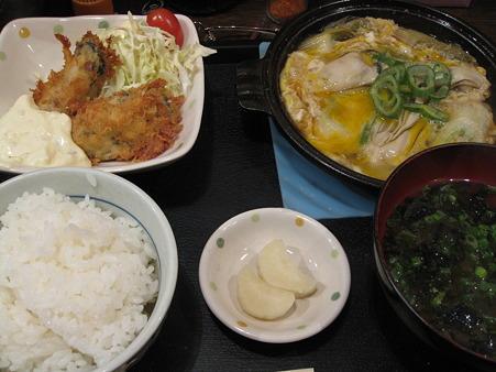 牡蠣の卵とじ定食